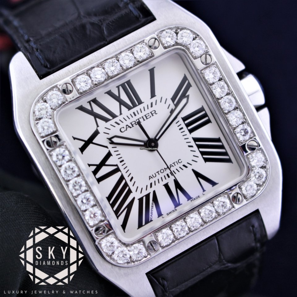 Cartier Watches Cartier Santos 100 Xl Diamonds 2656 W20073xb Box Papers