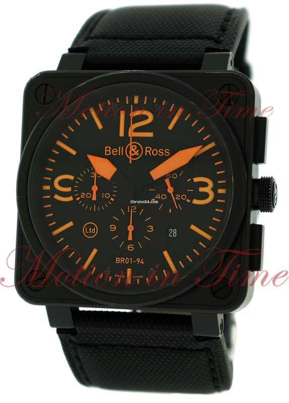 "Hublot Uhren Bell & Ross Br01-94 ""orange"", Chronograph, Black Dial"