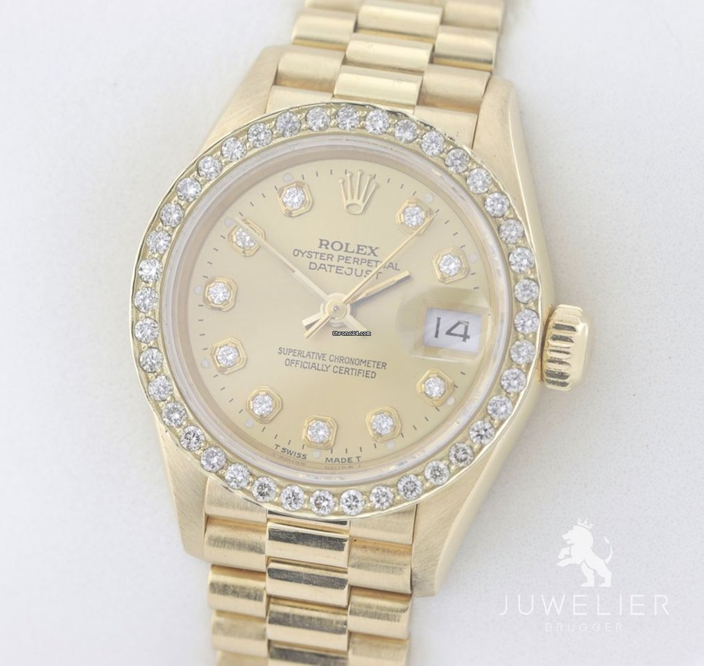Rolex Damenuhr Rolex Lady Datejust 26mm 750 Gold Automatik Diamanten Damenuhr