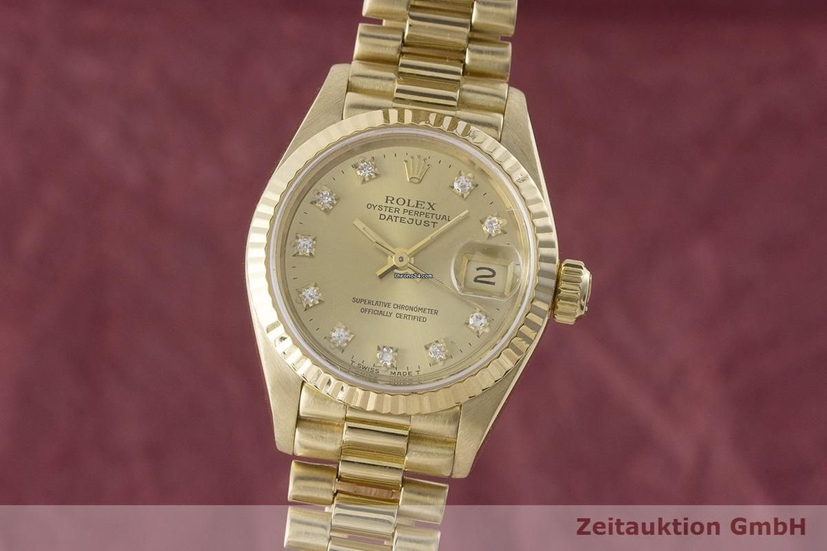 Rolex Damenuhr Rolex Lady Datejust 18k Gold Automatik Damenuhr Diamanten 69178