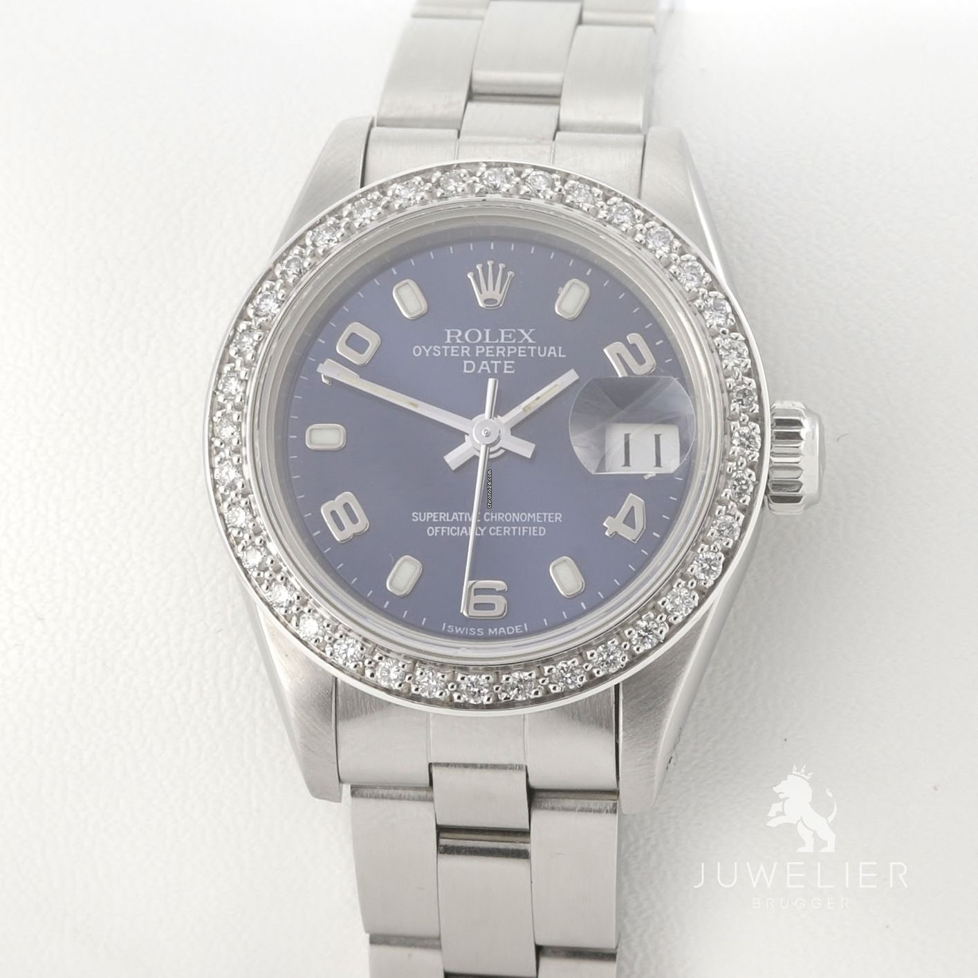 Rolex Damenuhr Rolex Lady Date 26mm Stahl Automatik Diamanten Damenuhr Datejust