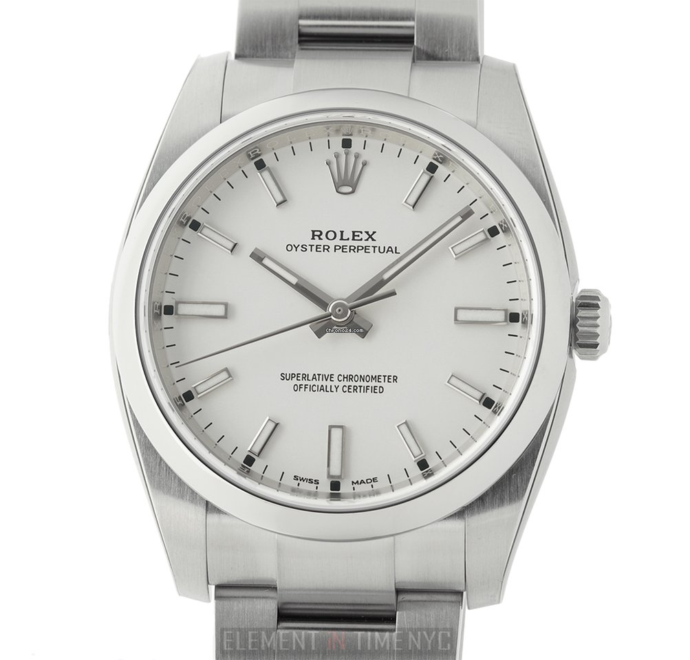 Stainless Rolex Rolex Oyster Perpetual 34mm No Date Stainless Steel White Dial