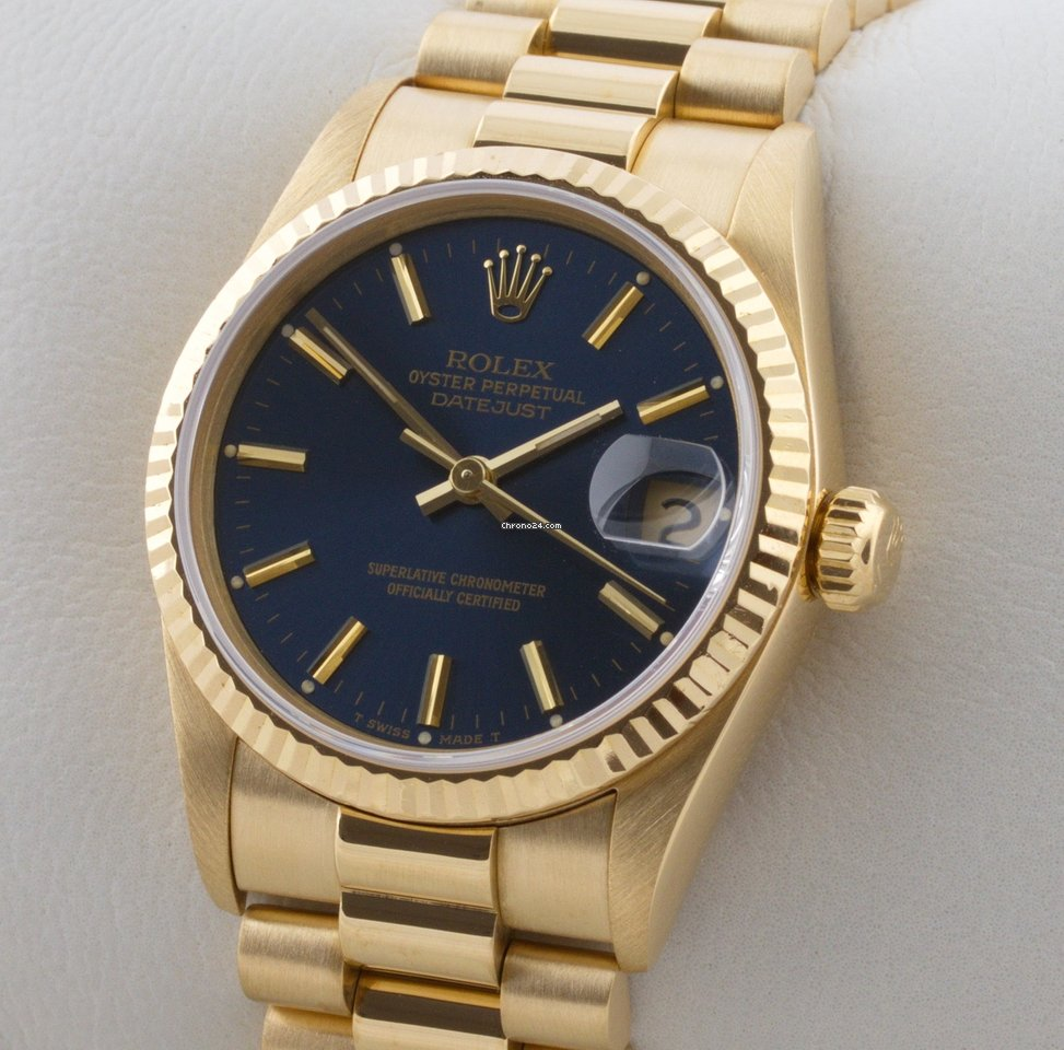 Rolex Damenuhr Rolex Lady Datejust 18 K Gold Gelbgold Automatic Medium Mid Size