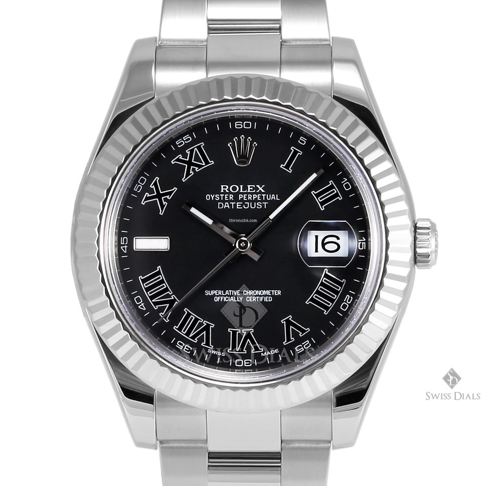 Stainless Rolex Rolex Datejust Ii Stainless Steel Black Roman Numeral Dial Fluted Bezel Oyster Band