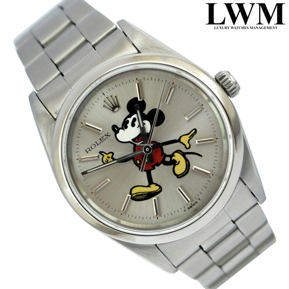 Rolexs Watches Rolex Air King 14000 By Mickey Mouse Silver Dial 1991
