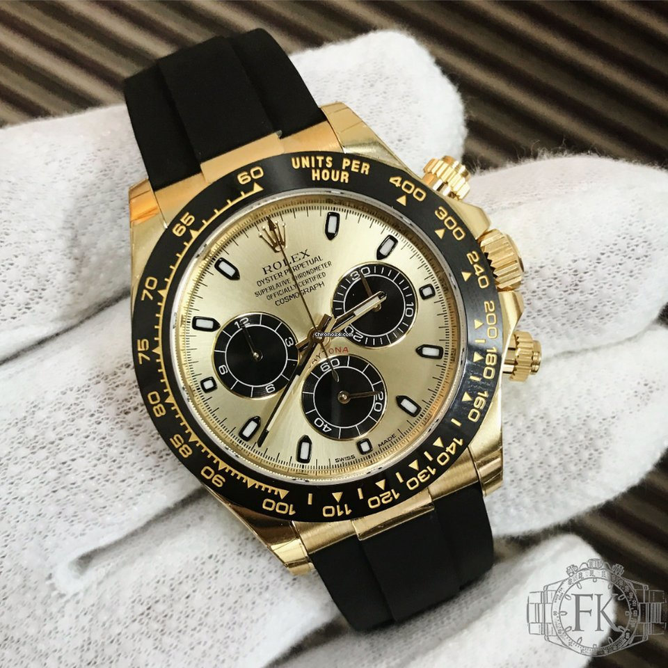Rolex Rubber Rolex Daytona Yellow Gold Rubber Strap Ceramic Bezel 116518
