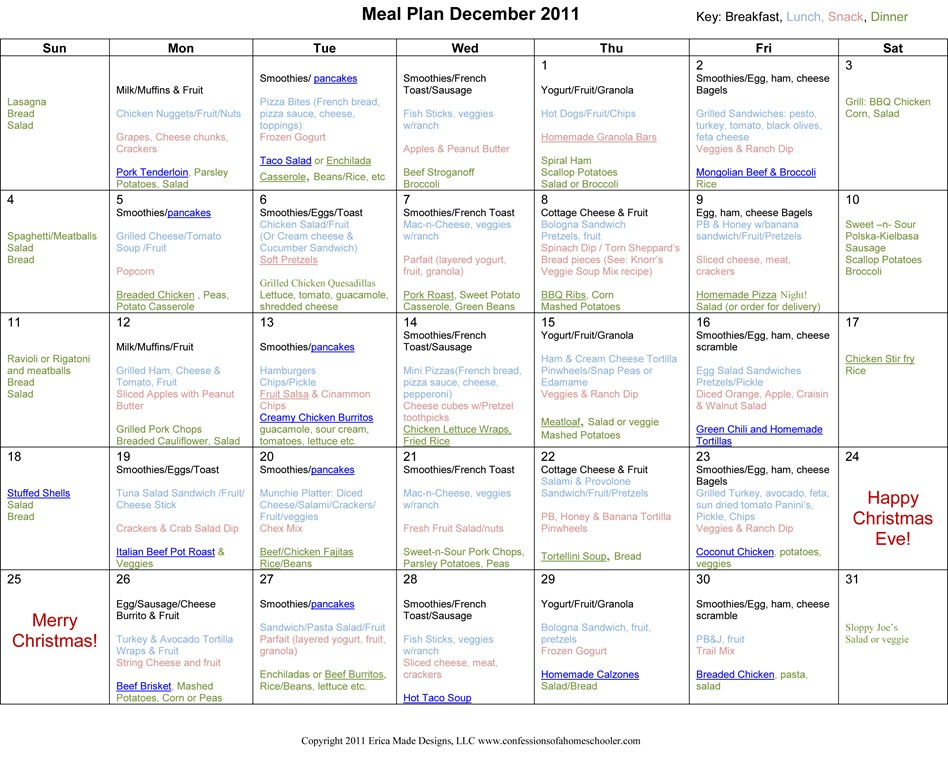 weekly menu planner for toddlers Baby Pinterest Weekly menu - christmas list templates