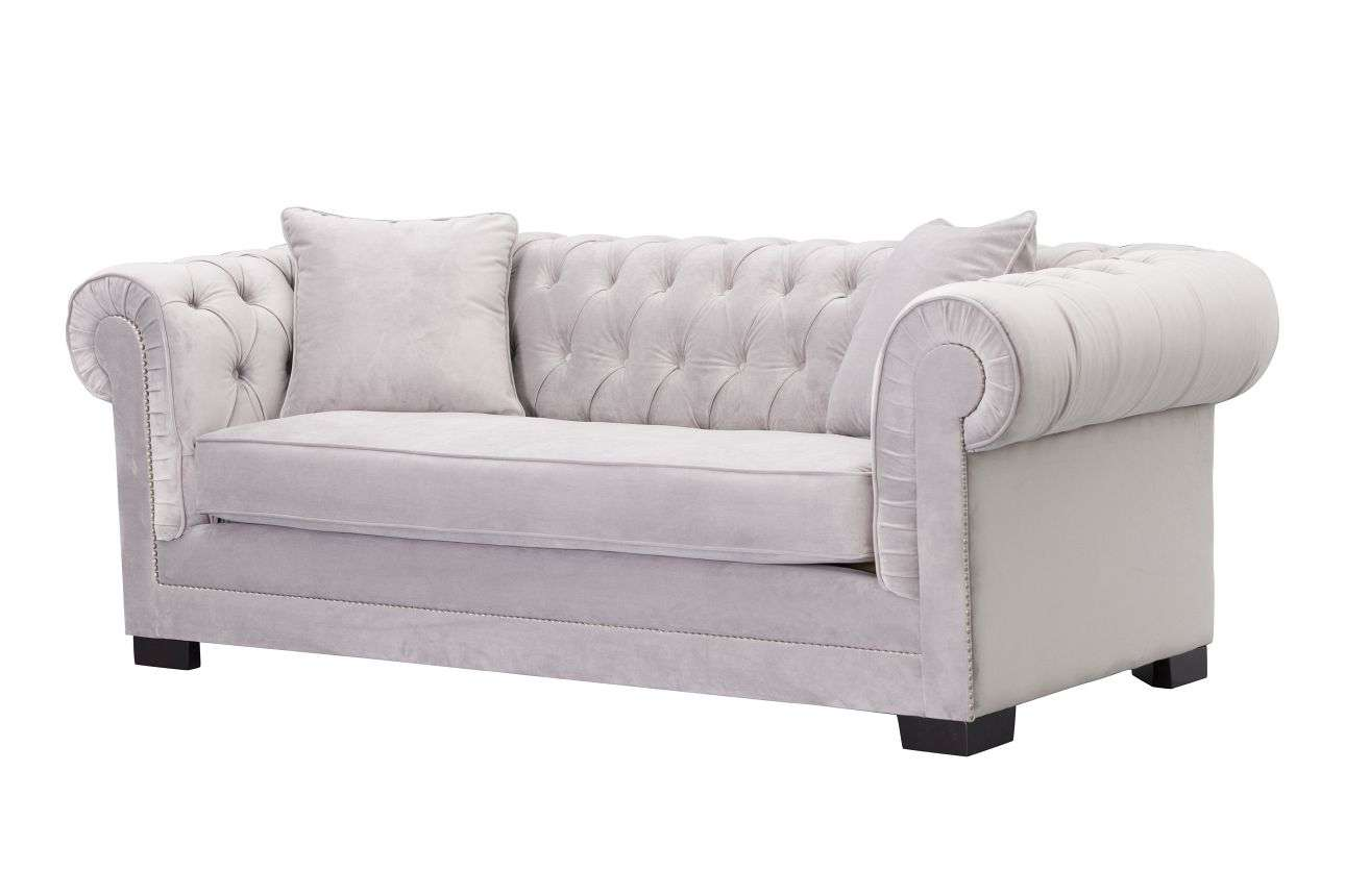 Raffrollos Vintage Sofa Chesterfield Classic Velvet Light Grey 3-sitzer, 218