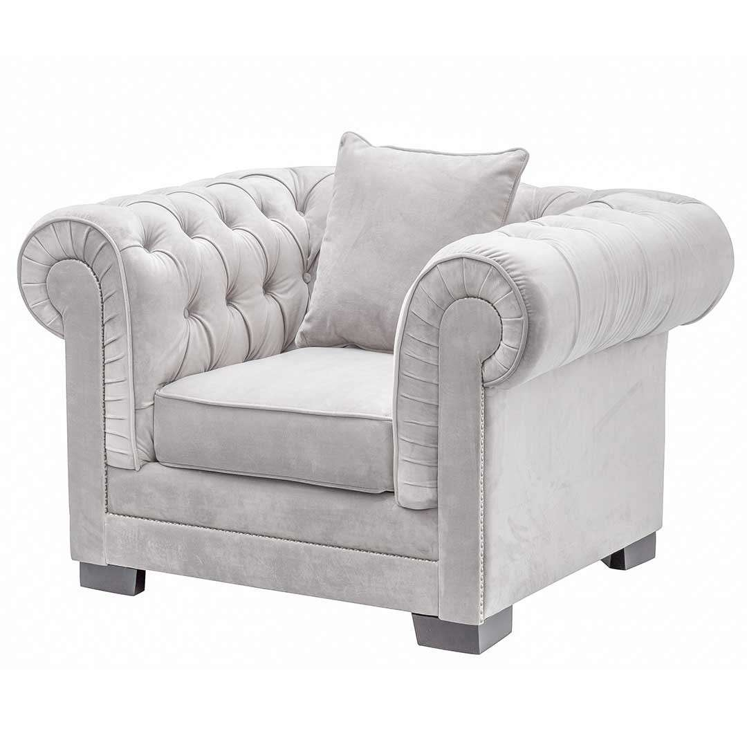 Sessel Chesterfield Sessel Chesterfield Classic Velvet Light Grey