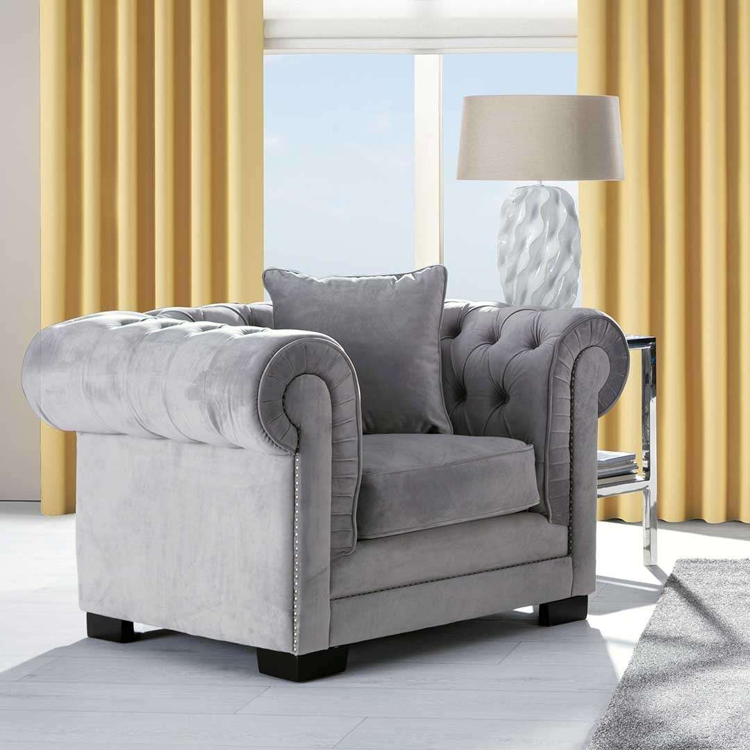 Sessel Jupiter Sessel Chesterfield Classic Velvet Light Grey - Dekoria