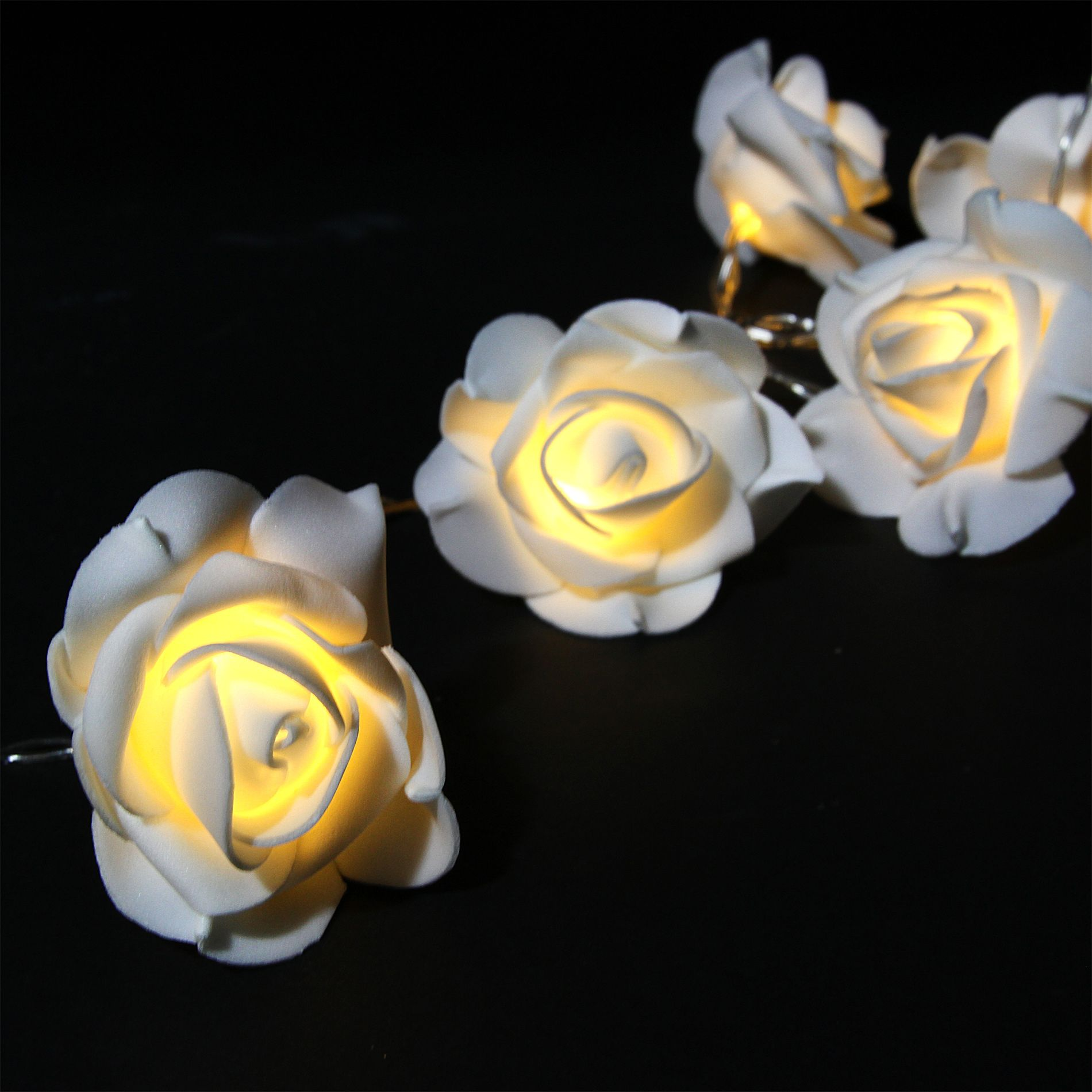 Guirlande Blanche Noel Guirlande Lumineuse Rose Blanche Blanc Chaud 15 Led