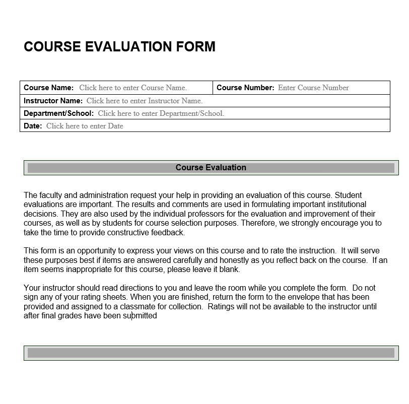 Academic Archives Evaluation Forms - product evaluation form