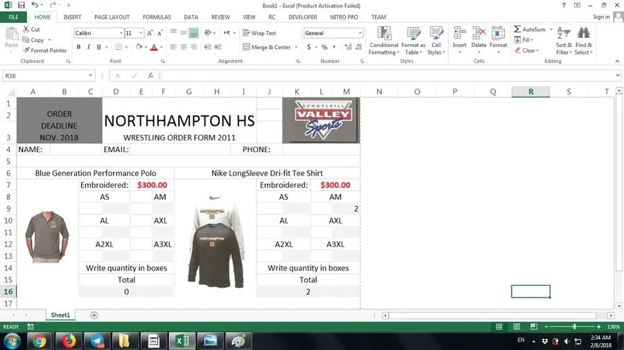 Entry #2 by vw6767981vw for Need a Team Apparel Order Form Created