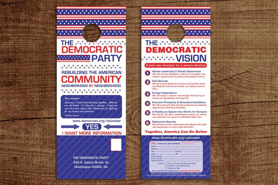 Entry #16 by gkhaus for Democratic Campaign Door Hanger Freelancer