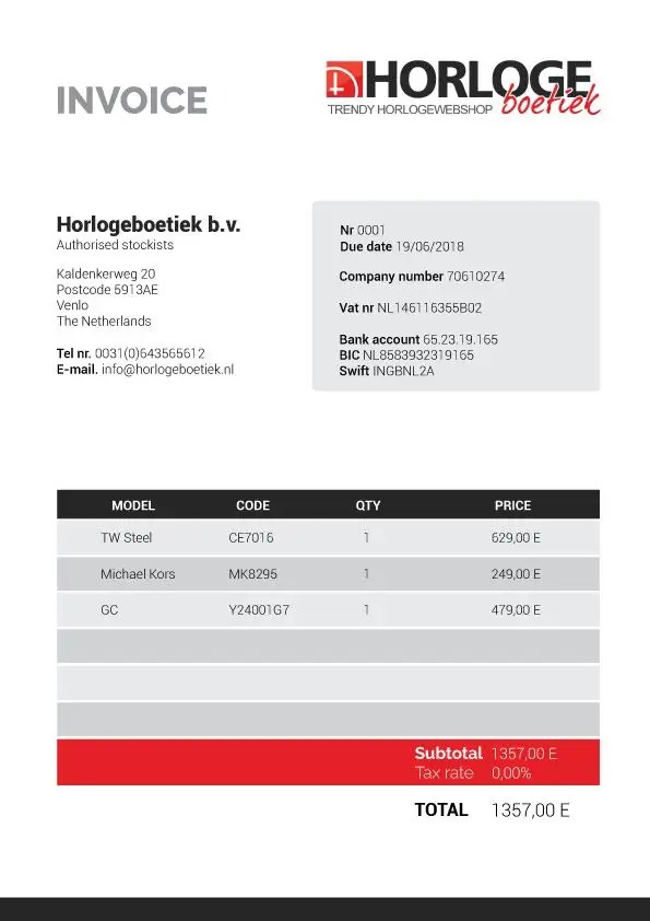 Entry #8 by Ruxandra16 for Professional invoice template for watch