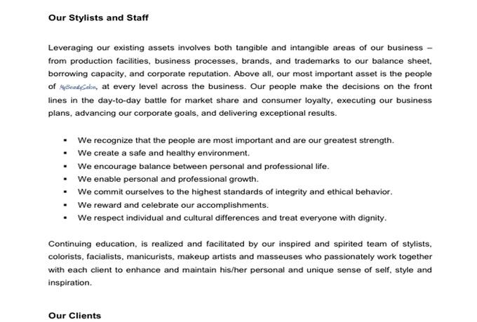 Nail Salon Business Plan Sample Pdf | Sample best Resume