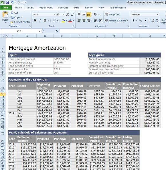 loan benefit calculator excel design template - My Mortgage Home Loan
