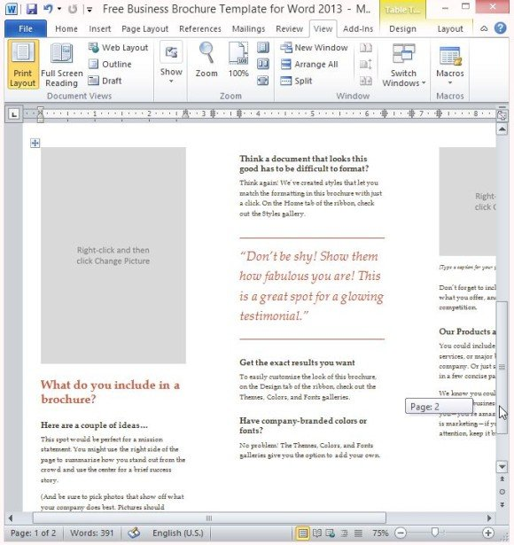 microsoft word pamphlet template
