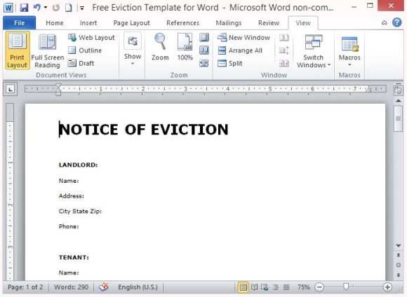 eviction notice template - landlord eviction notice letter