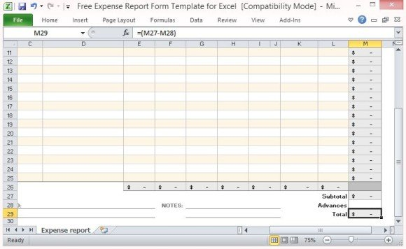 Template-for-Auto-Computing-Expense-Totals-580x356jpg - Excel Template Expense Report