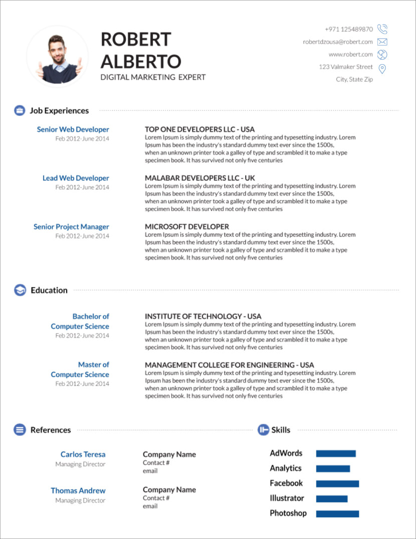 cv template download for word