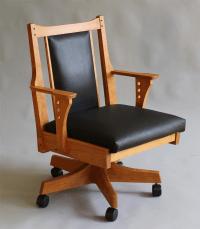 handmade office desk chair|custom wood furniture|leather chair