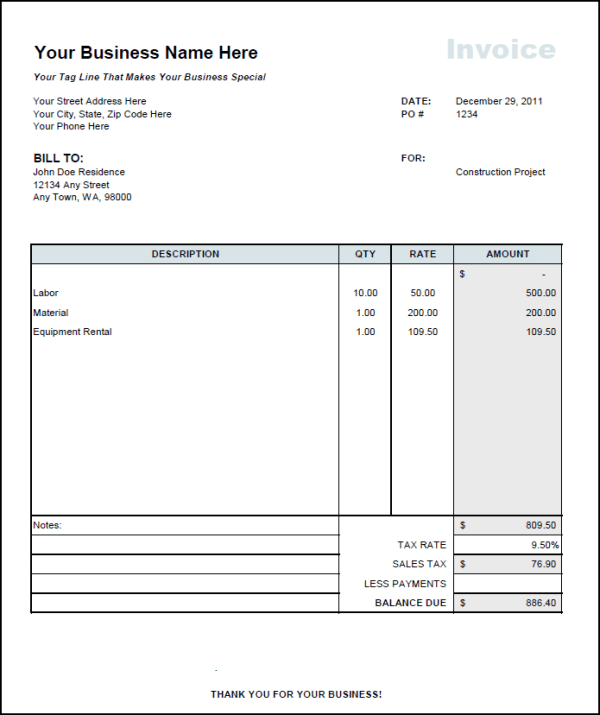 rental invoice template uk – privatesoftware, Invoice templates
