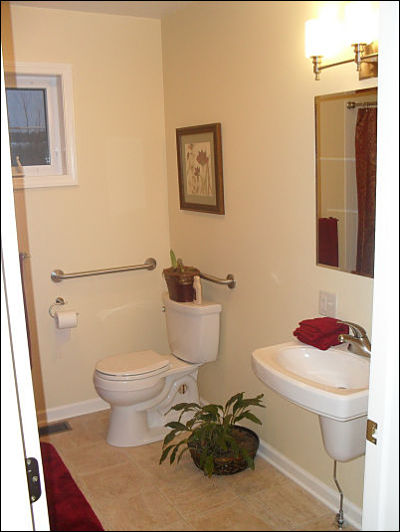 Open space in a bathroom and wider entryways universal design for