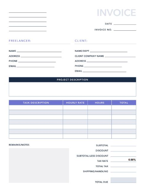 Free Invoices/Receipts PDF  Excel Template HubSpot