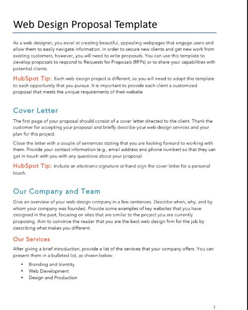 Free Proposals/Estimates/Quotes PDF  Word Template HubSpot