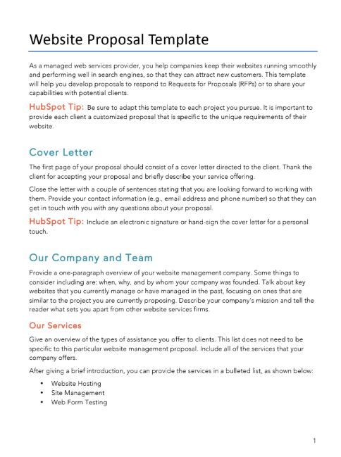 Free Proposals/Estimates/Quotes PDF  Word Template HubSpot