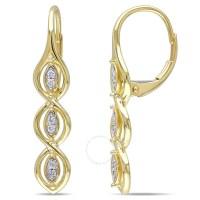 Amour 10 Karat Yellow Gold Leverback Dangle Diamond ...