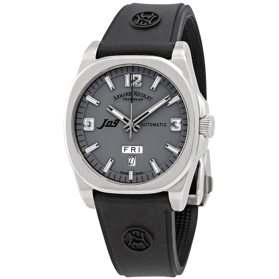 Rubber Mand Armand Nicolet J09 Automatic Grey Dial Men S Watch 9650a Gr G9660