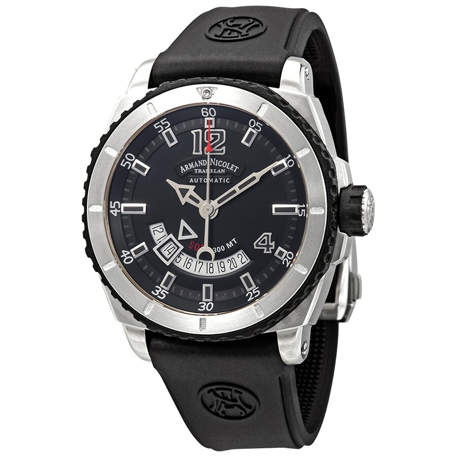 Rubber Mand Armand Nicolet S05 3 Black Dial Automatic Men S Rubber Watch A710agn Gr Gg4710n