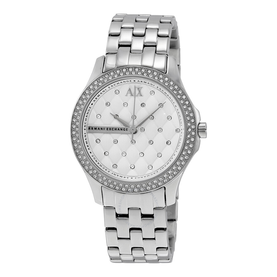 I Watch Ladies Armani Exchange Lady Hamilton Silver Quilted Dial Ladies Watch Ax5215