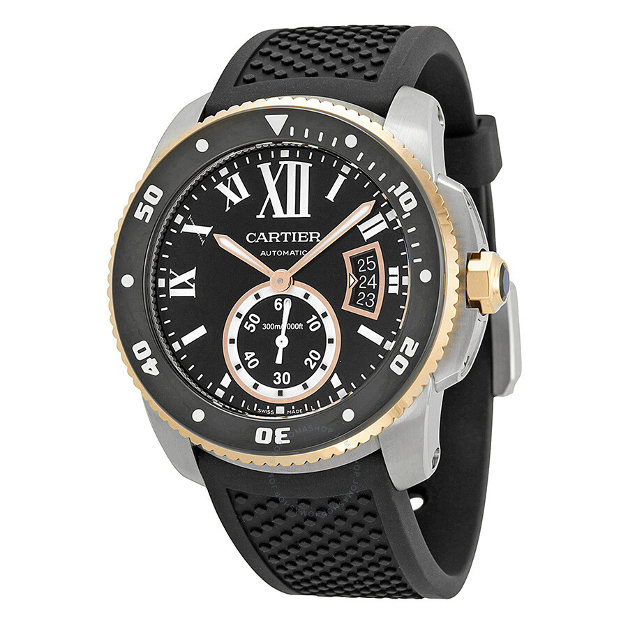 Cartier Watches Cartier Calibre De Cartier Black Dial Black Rubber Men S Watch W7100055