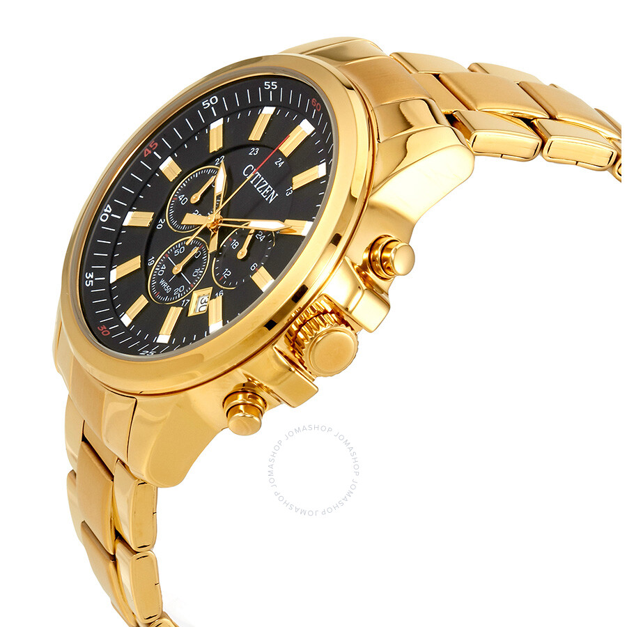 Gold Chronograph Citizen Urban Black Dial Men's Gold Tone Chronograph Watch