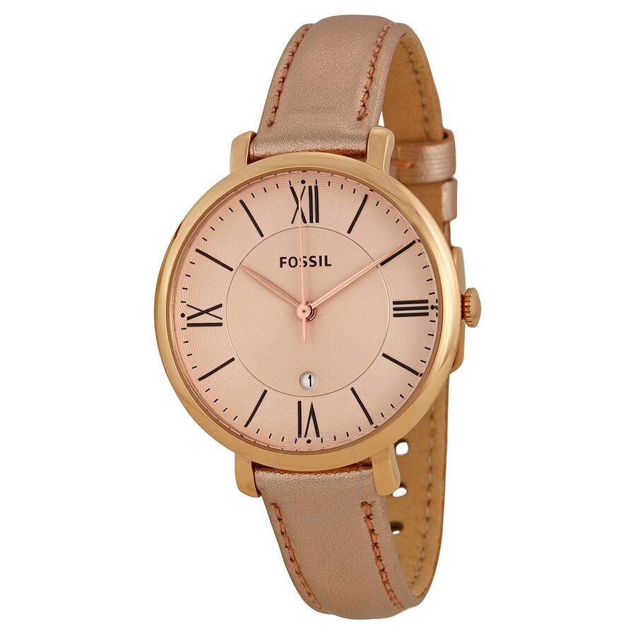 Leather Strap Rose Gold Watch Fossil Jacqueline Rose Gold Tone Dial Leather Strap Ladies Watch Es3438