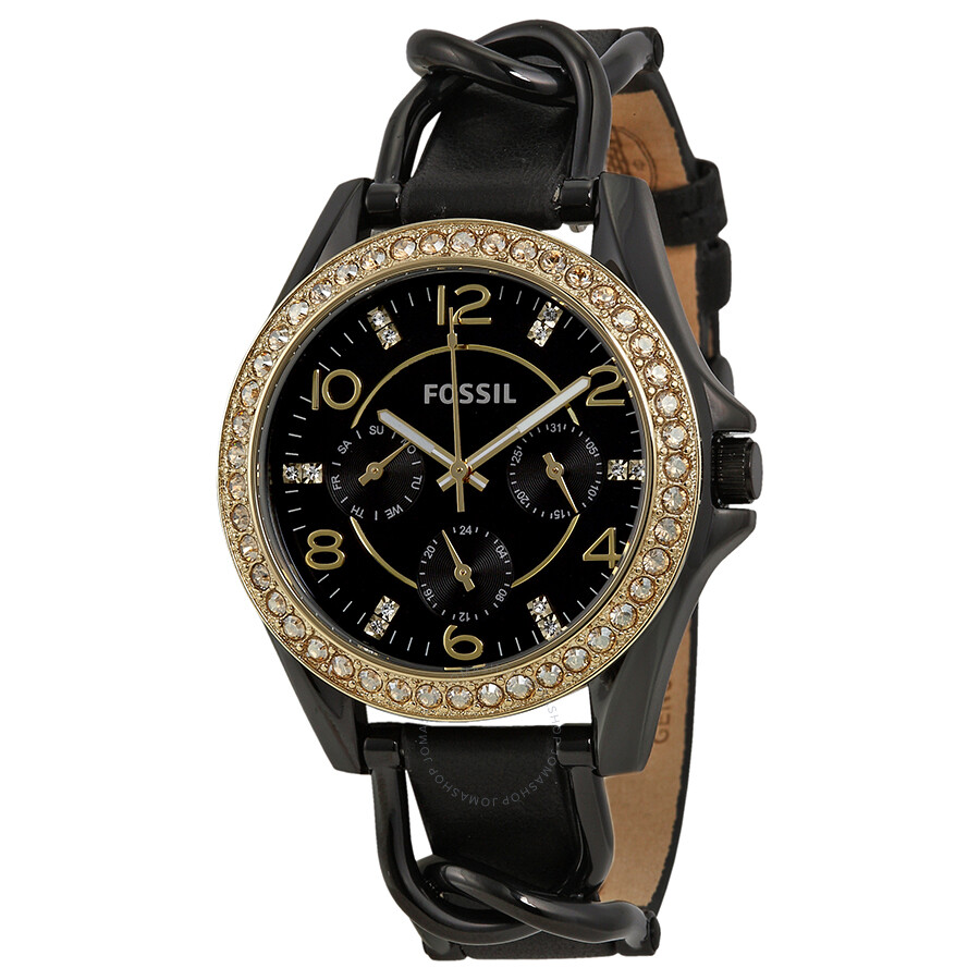 Fossil Riley Fossil Riley Black Crystal Set Dial Black Leather Strap Ladies Watch Es3696