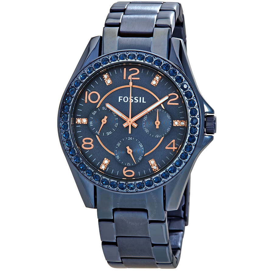 Fossil Riley Fossil Riley Multifunction Blue Dial Ladies Watch Es4294