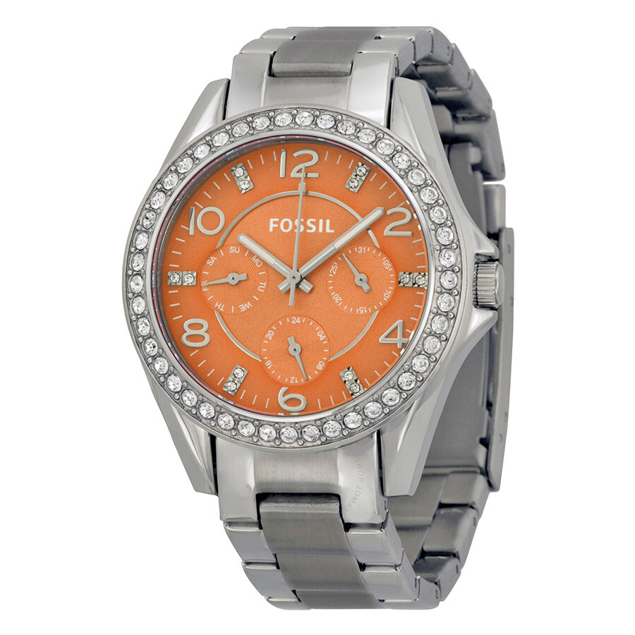 Fossil Riley Fossil Riley Mult Function Coral Dial Stainless Steel Ladies Watch Es3726