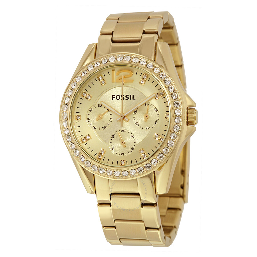 Fossil Riley Fossil Riley Multi Function Champagne Dial Ladies Watch Es3203