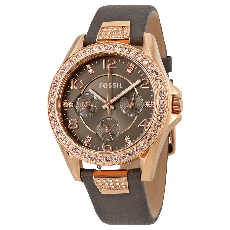Fossil Riley Fossil Riley Gray Dial Ladies Multifunction Watch Es3888