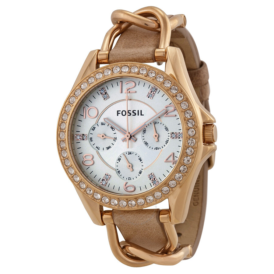 Fossil Riley Fossil Riley Multi Function Sand Dial Bone Leather Ladies Watch Es3466