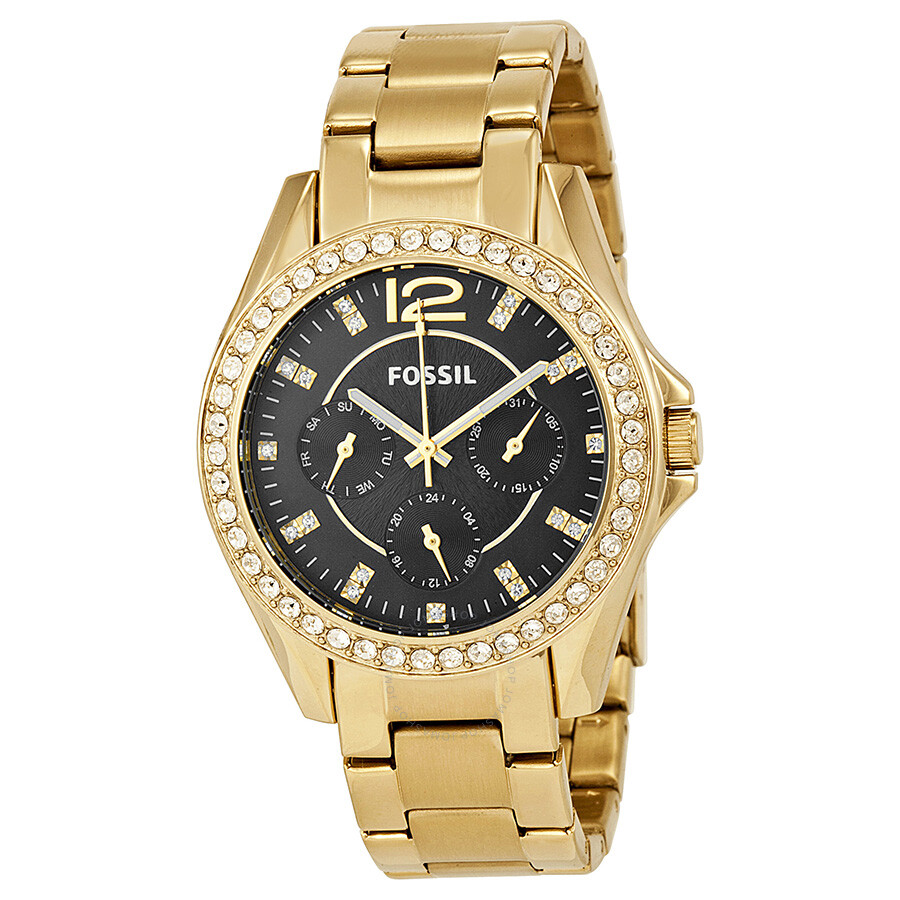 Fossil Riley Fossil Riley Multi Function Black Dial Gold Ion Plated Ladies Watch Es3384