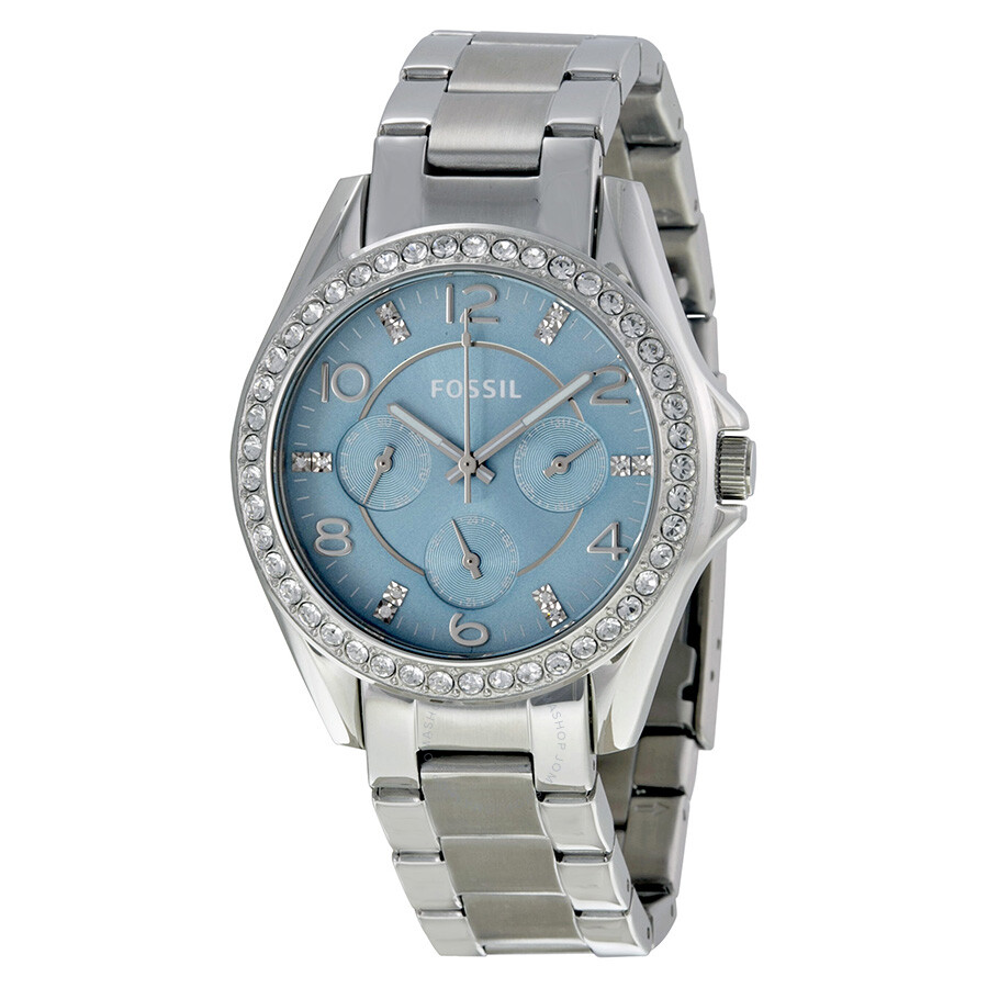 Fossil Riley Fossil Riley Multi Function Blue Dial Stainless Steel Ladies Watch Es3529