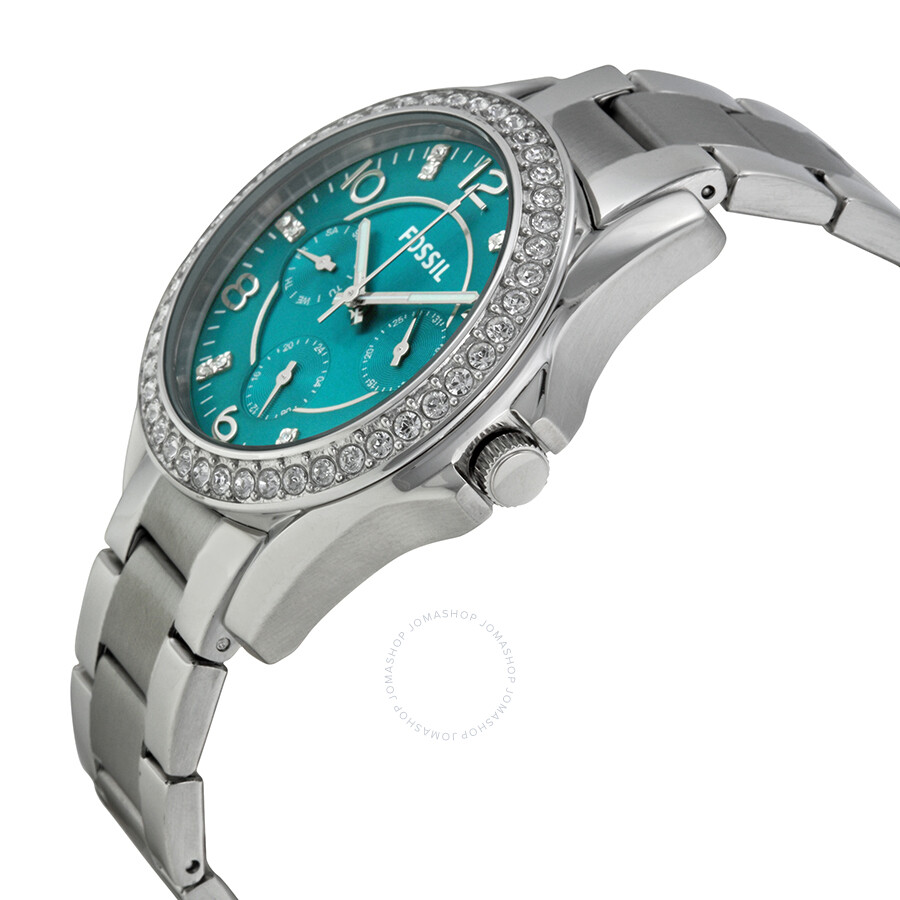 Fossil Riley Fossil Riley Multi Function Blue Dial Stainless Steel Ladies Watch Es3766