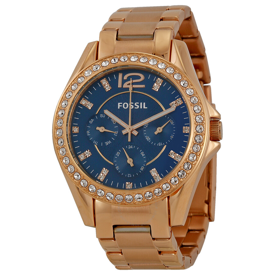 Fossil Riley Fossil Riley Multi Function Navy Dial Rose Gold Plated Ladies Watch Es3341