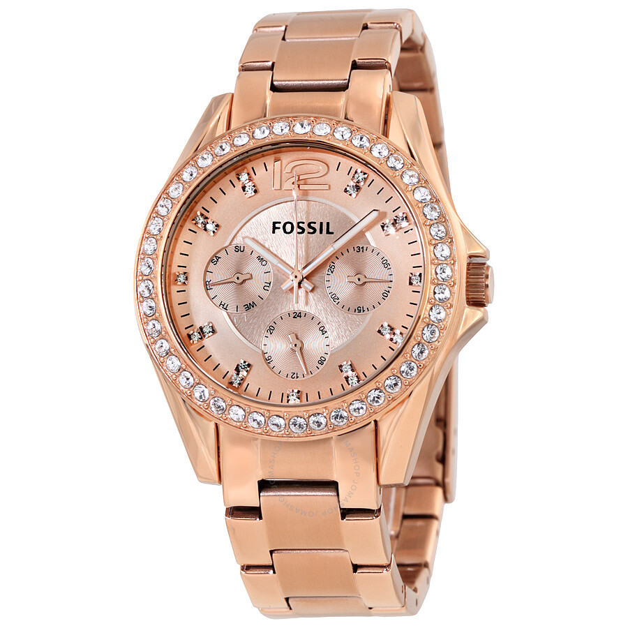 Fossil Riley Fossil Riley Multifunction Rose Gold Plated Ladies Watch Es2811