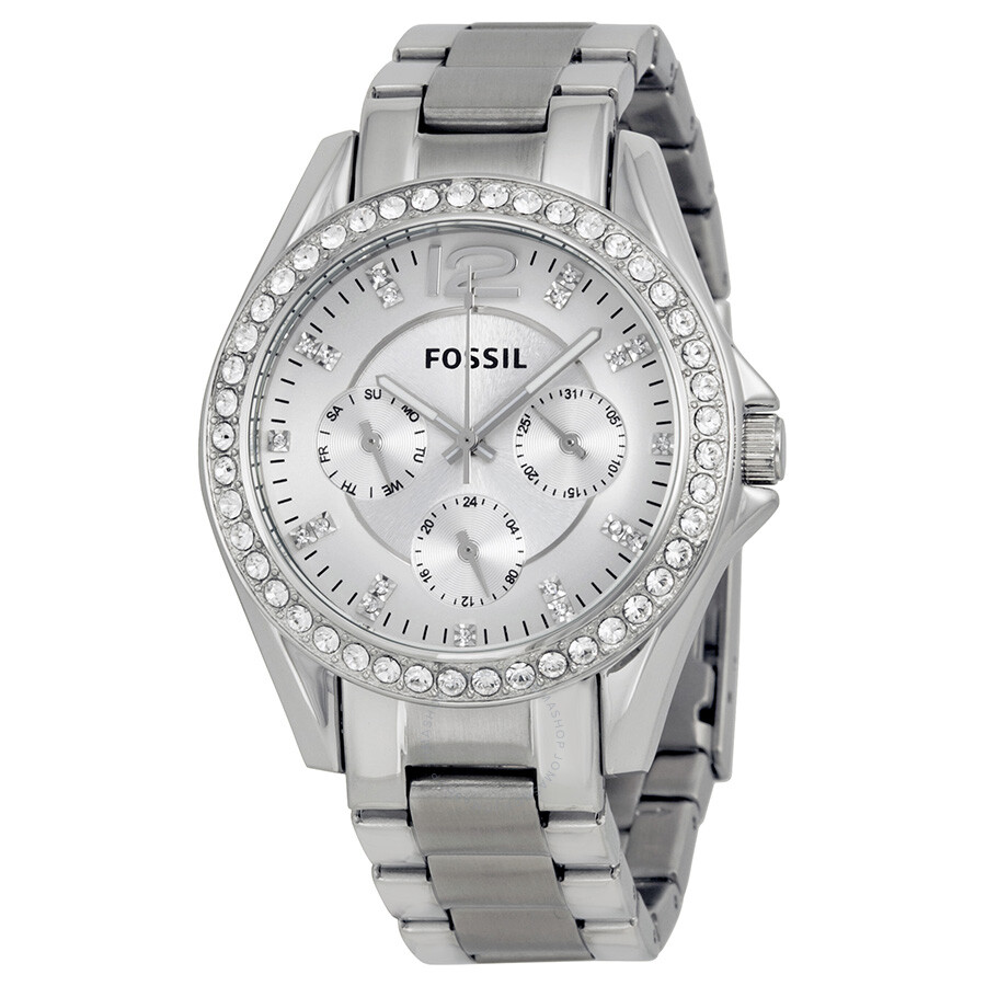 Fossil Riley Fossil Riley Multi Function Silver Dial Ladies Watch Es3202